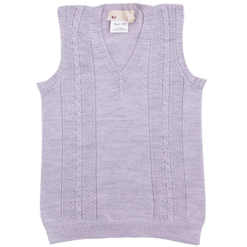 ЖилетЖилет серого цвета марки R&amp;I для мальчиков.<br>Мягкий жилет прекрасно дополнит гардероб маленького модника. Практичная и стильная вещь удачно сочетается с джинсами и брюками, рубашками или водолазками.<br>Шерстяной жилет подойдет для прогулок, торжественных мероприятий, занятий в саду или школе.В осенне-зимний период жилет надежно согреет, не вызывая аллергических реакций и дискомфорта.Модель выгодноотличается красивой вязкой косы.<br>Состав: 100% шерсть тонкорунного мериноса.<br><br>Размер: 4 года<br>Цвет: Серый<br>Рост: 104<br>Пол: Для мальчика<br>Артикул: 637819<br>Страна производитель: Киргизия<br>Сезон: Осень/Зима<br>Состав: 100% Шерсть<br>Бренд: Киргизия