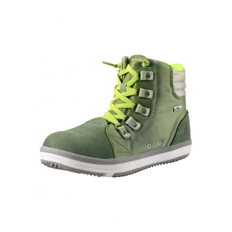 БотинкиБотинки зеленогоцвета марки REIMA серии REIMA TEC. Ботинки с водоотталкивающей пропиткой выполнены из прочного дыщащего материала, все швы изделия проклеены, водонепроницаемы. Вставка из замши спереди также водонепроницаема. Ботинки имеют светоотражающие детали для безопасности ребенка в темное время суток. Ботинки украшены вставкой ярко-желтого цвета и шнурками в тон. Прочная рельефная подошва из термопластичной резины легкая и не скользит. В комплект входят дополнительные шнурки белого цвета.<br><br>Размер: 34<br>Цвет: Зеленый<br>Пол: Не указан<br>Артикул: 638152<br>Страна производитель: Китай<br>Сезон: Весна/Лето<br>Материал верха: Натуральная замша / Полиэстер<br>Материал подошвы: ТПР (термопластичная резина)<br>Коллекция: 2016<br>Бренд: Финляндия<br>Тип: Демисезон<br>Серия: Reimatec