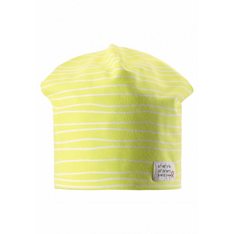 ШапкаЛегкая шапка желтогоцвета марки REIMA.Демисезонная шапка выполнена из мягкого трикотажа на основе хлопка, дополнена подкладкой. Шапку можно носить на две стороны: одна сторона украшена рисунком в полоску, с другой стороны шапка однотонная.<br><br>Размер: 6 лет<br>Цвет: Желтый<br>Размер: 52<br>Пол: Не указан<br>Артикул: 638044<br>Страна производитель: Китай<br>Сезон: Весна/Лето<br>Коллекция: 2016<br>Состав: 65% Хлопок, 30% Полиэстер, 5% Эластан<br>Состав подкладки: 65% Хлопок, 30% Полиэстер, 5% Эластан<br>Бренд: Финляндия<br>Тип: Демисезон<br>Серия: Reima