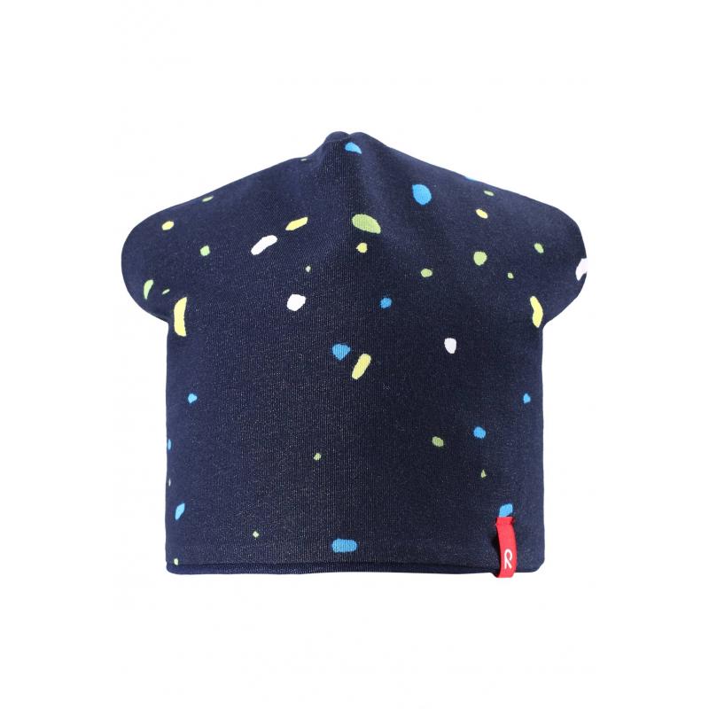 ШапкаЛегкая шапка темно-синегоцвета марки REIMA.Демисезонная шапка выполнена из мягкого трикотажа на основе хлопка, дополнена подкладкой. Шапку можно носить на две стороны: одна сторона украшена рисунком, с другой стороны шапка однотонная.<br><br>Размер: 4 года<br>Цвет: Темносиний<br>Размер: 50<br>Пол: Не указан<br>Артикул: 638087<br>Страна производитель: Китай<br>Сезон: Весна/Лето<br>Коллекция: 2016<br>Состав: 65% Хлопок, 30% Полиэстер, 5% Эластан<br>Состав подкладки: 65% Хлопок, 30% Полиэстер, 5% Эластан<br>Бренд: Финляндия<br>Тип: Демисезон<br>Серия: Reima