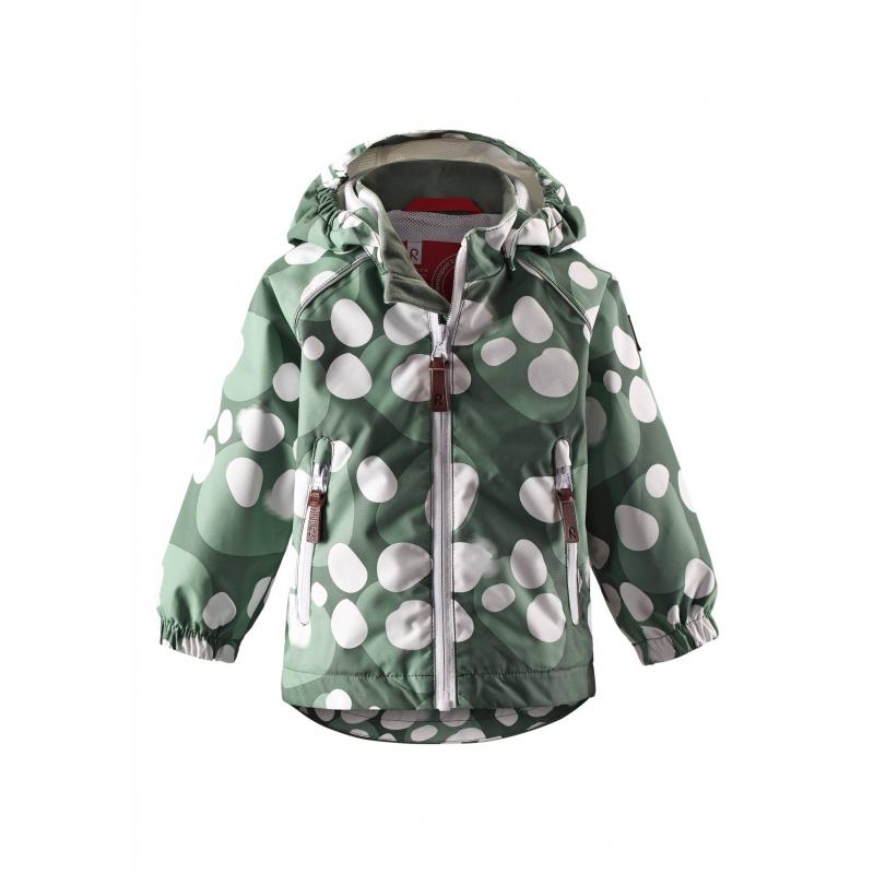 КурткаЛегкаядемисезоннаякуртказеленогоцвета марки REIMA.Куртка без утеплителя выполнена из водонепроницаемого дышащего материала с мембраной свыше 10000 мм. Куртка украшена принтом с рисунком в белый горошек. Внешние швы изделия проклеены, что обеспечиваеткомфортную температуру и сухость. Куртка дополнена съемным капюшоном на кнопках, спереди имеет два кармана на молнии. Манжеты на резинке защищают от ветра. Застегивается куртка на молнию. Внутри куртка дополнена подкладкой из дышащей сетки. Светоотражающие детали обеспечивают безопасность ребенка в темное время суток.<br>Материал сохраняет уровень защиты от влаги и грязи даже после многочисленных стирок.<br><br>Размер: 3 года<br>Цвет: Зеленый<br>Рост: 98<br>Пол: Не указан<br>Артикул: 637968<br>Бренд: Финляндия<br>Страна производитель: Китай<br>Сезон: Весна/Лето<br>Коллекция: 2016<br>Состав: 100% Полиэстер<br>Состав подкладки: 100% Полиэстер<br>Вид застежки: Молния<br>Покрытие: Полиуретан<br>Тип: Демисезон<br>Серия: Reima
