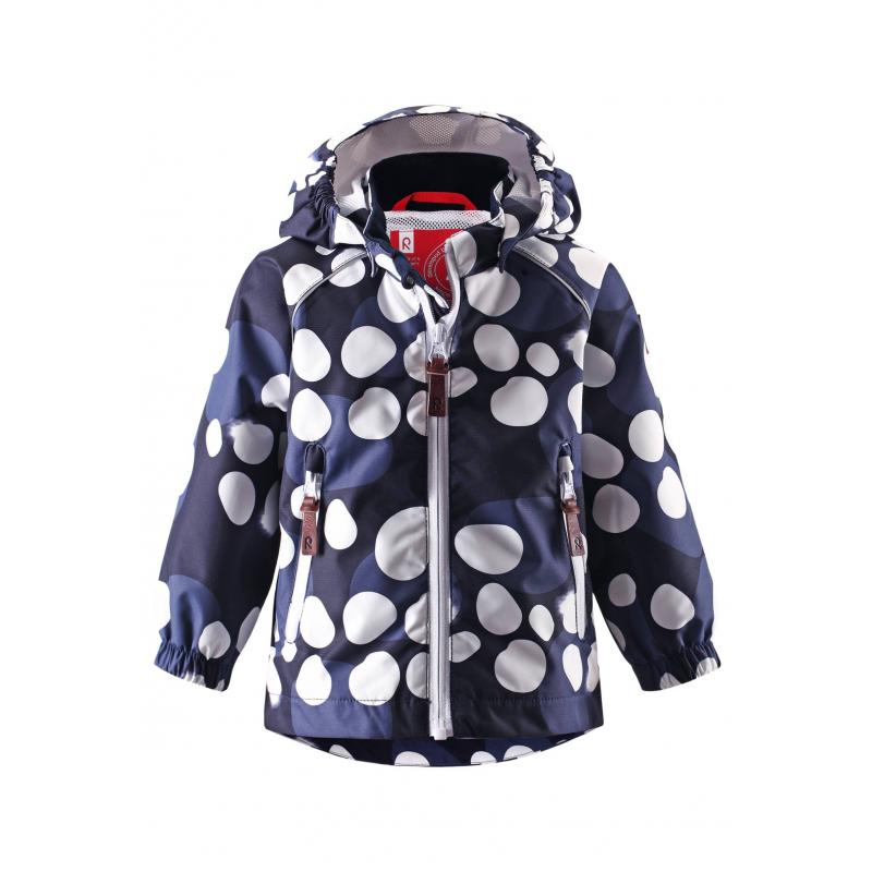 КурткаЛегкаядемисезоннаякуртка темно-синегоцвета марки REIMA.Куртка без утеплителя выполнена из водонепроницаемого дышащего материала с мембраной свыше 10000 мм. Куртка украшена принтом с рисунком в белый горошек. Внешние швы изделия проклеены, что обеспечиваеткомфортную температуру и сухость. Куртка дополнена съемным капюшоном на кнопках, спереди имеет два кармана на молнии. Манжеты на резинке защищают от ветра. Застегивается куртка на молнию. Внутри куртка дополнена подкладкой из дышащей сетки. Светоотражающие детали обеспечивают безопасность ребенка в темное время суток.<br>Материал сохраняет уровень защиты от влаги и грязи даже после многочисленных стирок.<br><br>Размер: 18 месяцев<br>Цвет: Темносиний<br>Рост: 86<br>Пол: Не указан<br>Артикул: 637963<br>Бренд: Финляндия<br>Страна производитель: Китай<br>Сезон: Весна/Лето<br>Коллекция: 2016<br>Состав: 100% Полиэстер<br>Состав подкладки: 100% Полиэстер<br>Вид застежки: Молния<br>Покрытие: Полиуретан<br>Тип: Демисезон<br>Серия: Reima