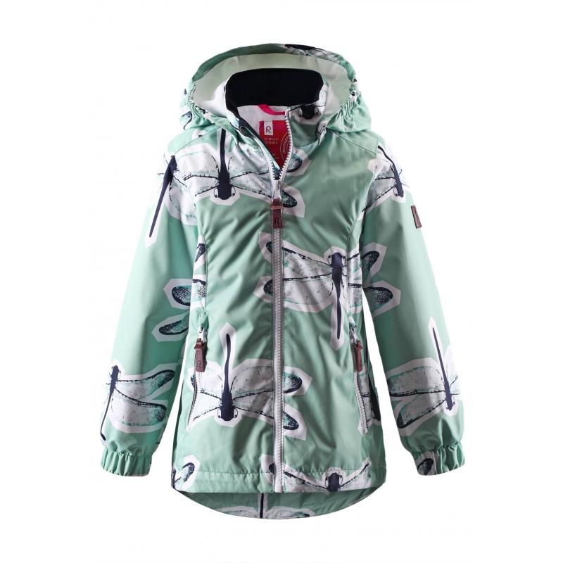 КурткаЛегкая демисезонная куртка мятногоцвета марки REIMA для девочек.Куртка без утеплителя выполнена из водонепроницаемого дышащего материала с мембраной свыше 5000 мм. Куртка украшена принтом с изображением стрекоз. Внешние швы изделия проклеены, что обеспечиваеткомфортную температуру и сухость. Куртка дополнена съемным капюшоном на кнопках, спереди имеет два кармана на молнии. Манжеты на резинке защищают от ветра. Застегивается куртка на молнию. Внутри куртка дополнена гладкой подкладкой. Светоотражающие детали обеспечивают безопасность ребенка в темное время суток.<br>Материал сохраняет уровень защиты от влаги и грязи даже после многочисленных стирок.<br><br>Размер: 7 лет<br>Цвет: Зеленый<br>Рост: 122<br>Пол: Для девочки<br>Артикул: 638002<br>Страна производитель: Китай<br>Сезон: Весна/Лето<br>Коллекция: 2016<br>Состав: 100% Полиэстер<br>Состав подкладки: 100% Полиэстер<br>Бренд: Финляндия<br>Вид застежки: Молния<br>Покрытие: Полиуретан<br>Тип: Демисезон<br>Серия: Reima