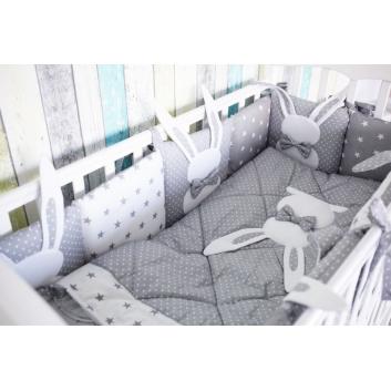 Малыши, Комплект в кроватку 6 предметов Зайка Топотушки (серый)313935, фото