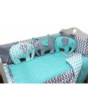 Комплект в кроватку 6 предметов Слоники Топотушки