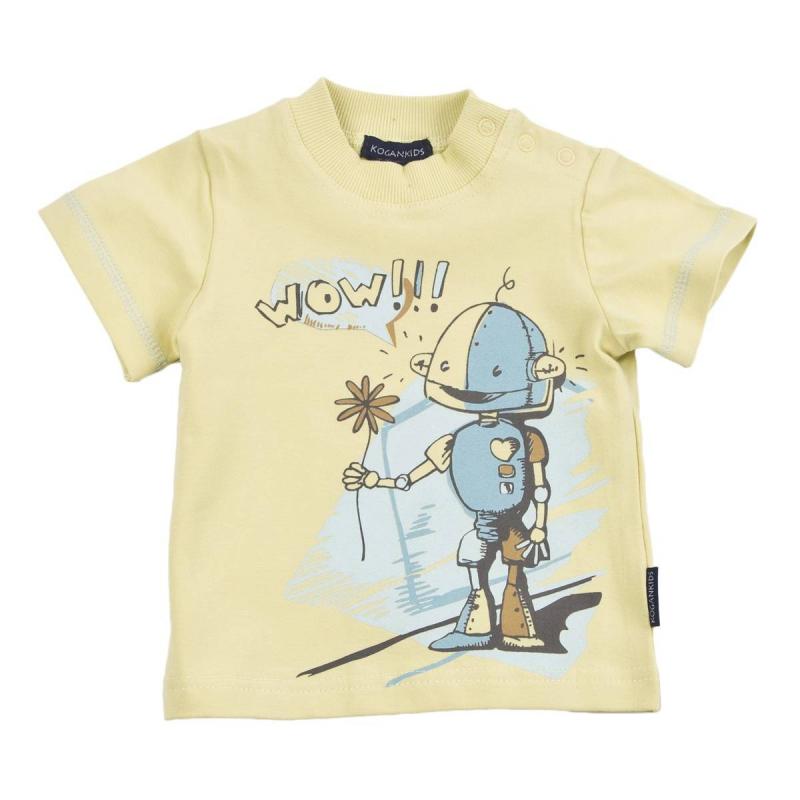 ФутболкаФутболка желтогоцвета марки KOGANKIDS для мальчиков. Футболка выполнена из мягкого хлопкового трикотажа, украшена принтом с изображением милого робота. Застегивается футболка на кнопки на плече.<br><br>Размер: 2 года<br>Цвет: Желтый<br>Рост: 92<br>Пол: Для мальчика<br>Артикул: 637137<br>Страна производитель: Узбекистан<br>Сезон: Весна/Лето<br>Состав: 92% Хлопок, 8% Эластан<br>Бренд: Россия