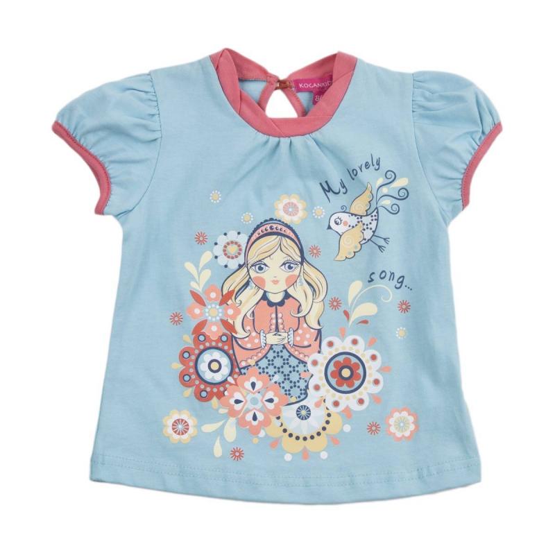 ФутболкаФутболка голубого цвета марки KOGANKIDS для девочек. Футболка с коротким рукавом выполнена из стопроцентного хлопка, украшена рисунком с изображением матрешки. Застегивается футболка на пуговицу на спине.<br><br>Размер: 12 месяцев<br>Цвет: Голубой<br>Рост: 80<br>Пол: Для девочки<br>Артикул: 637127<br>Бренд: Россия<br>Страна производитель: Узбекистан<br>Сезон: Весна/Лето<br>Состав: 100% Хлопок<br>Вид застежки: Пуговицы