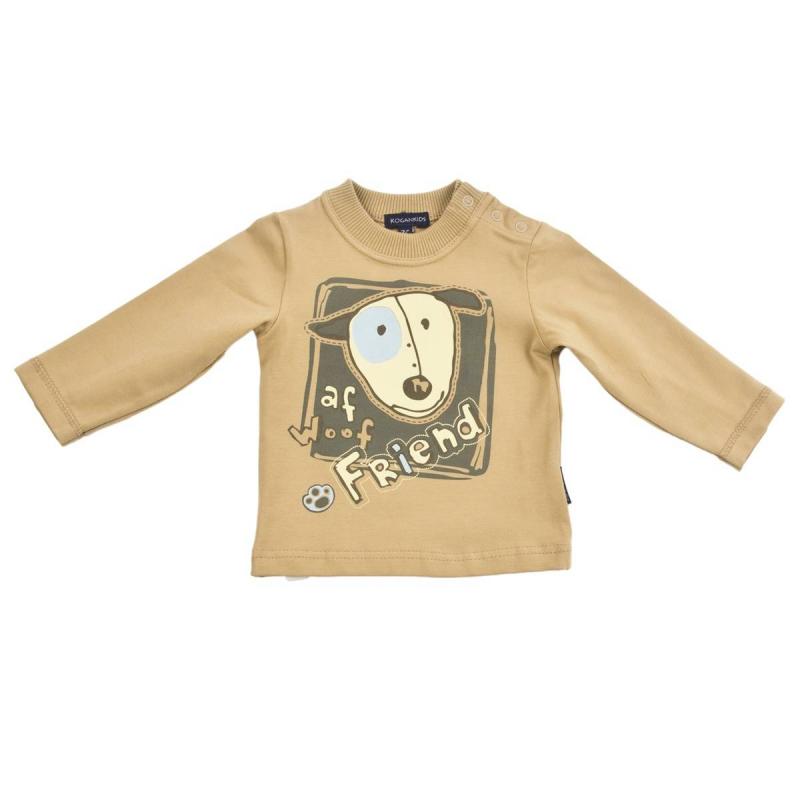ФутболкаФутболка песочного цвета марки KOGANKIDS для мальчиков. Футболка с длинным рукавом выполнена из мягкого хлопкового трикотажа, украшена принтом с изображением собачки. Застегивается футболка на кнопки на плече.<br><br>Размер: 12 месяцев<br>Цвет: Коричневый<br>Рост: 80<br>Пол: Для мальчика<br>Артикул: 637147<br>Страна производитель: Узбекистан<br>Сезон: Всесезонный<br>Состав: 92% Хлопок, 8% Эластан<br>Бренд: Россия<br>Вид застежки: Кнопки