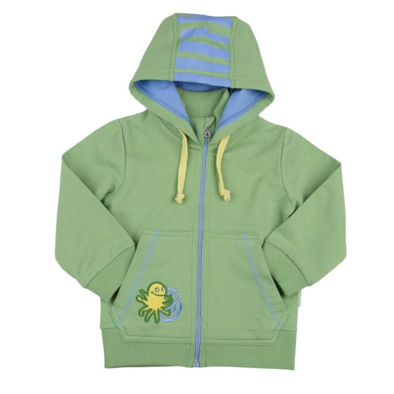 ТолстовкаТолстовка зеленогоцвета марки KOGANKIDS для мальчиков. Толстовка выполнена из стопроцентного хлопка, дополнена капюшоном, двумя карманами спереди, застегивается на молнию. Толстовка спереди украшена аппликацией в виде осьминога, сзади принтом в полоску.<br><br>Размер: 3 года<br>Цвет: Зеленый<br>Рост: 98<br>Пол: Для мальчика<br>Артикул: 637503<br>Страна производитель: Узбекистан<br>Сезон: Всесезонный<br>Состав: 100% Хлопок<br>Бренд: Россия<br>Вид застежки: Молния