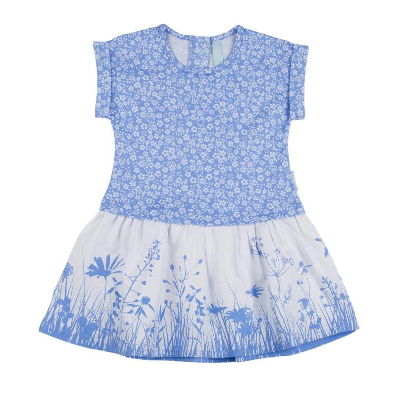 ПлатьеПлатье голубого цвета марки KOGANKIDS для девочек. Платье с коротким рукавом выполнено из мягкого хлопкового трикотажа, украшено цветочным узором. Застегивается платье на кнопки на спине.<br><br>Размер: 3 года<br>Цвет: Голубой<br>Рост: 98<br>Пол: Для девочки<br>Артикул: 637259<br>Страна производитель: Узбекистан<br>Сезон: Весна/Лето<br>Состав: 100% Хлопок<br>Бренд: Россия<br>Вид застежки: Кнопки