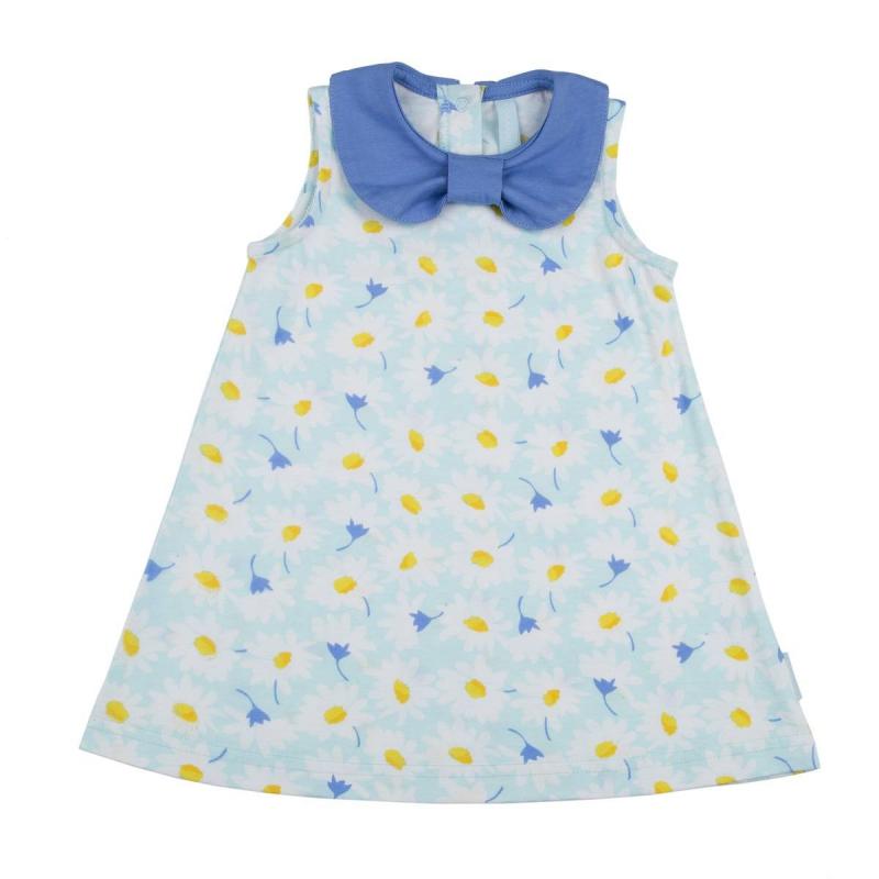 СарафанСарафансветло-голубогоцвета марки KOGANKIDS для девочек. Сарафан без рукавов выполнен из мягкого хлопкового трикотажа, украшен воротничком синего цвета и цветочным узором с ромашками. Застегиваетсясарафанна кнопки на спине.<br><br>Размер: 2 года<br>Цвет: Голубой<br>Рост: 92<br>Пол: Для девочки<br>Артикул: 637251<br>Страна производитель: Узбекистан<br>Сезон: Весна/Лето<br>Состав: 100% Хлопок<br>Бренд: Россия<br>Вид застежки: Кнопки