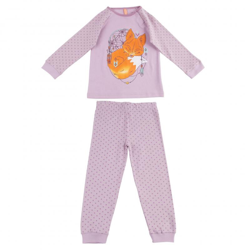 ПижамаПижама сиреневого цвета марки KOGANKIDS для девочек. Пижама выполнена из стопроцентного хлопка, состоит из футболки с длинным рукавом и брюк. Футболка украшена принтом с изображением лисички, рукава украшены рисунком в горошек; застегивается футболка на кнопки на плече. Брюки имеют удобную широкую резинку на поясе, украшены принтом в горошек.<br><br>Размер: 3 года<br>Цвет: Сиреневый<br>Рост: 98<br>Пол: Для девочки<br>Артикул: 637614<br>Страна производитель: Узбекистан<br>Сезон: Всесезонный<br>Состав: 100% Хлопок<br>Бренд: Россия<br>Вид застежки: Кнопки