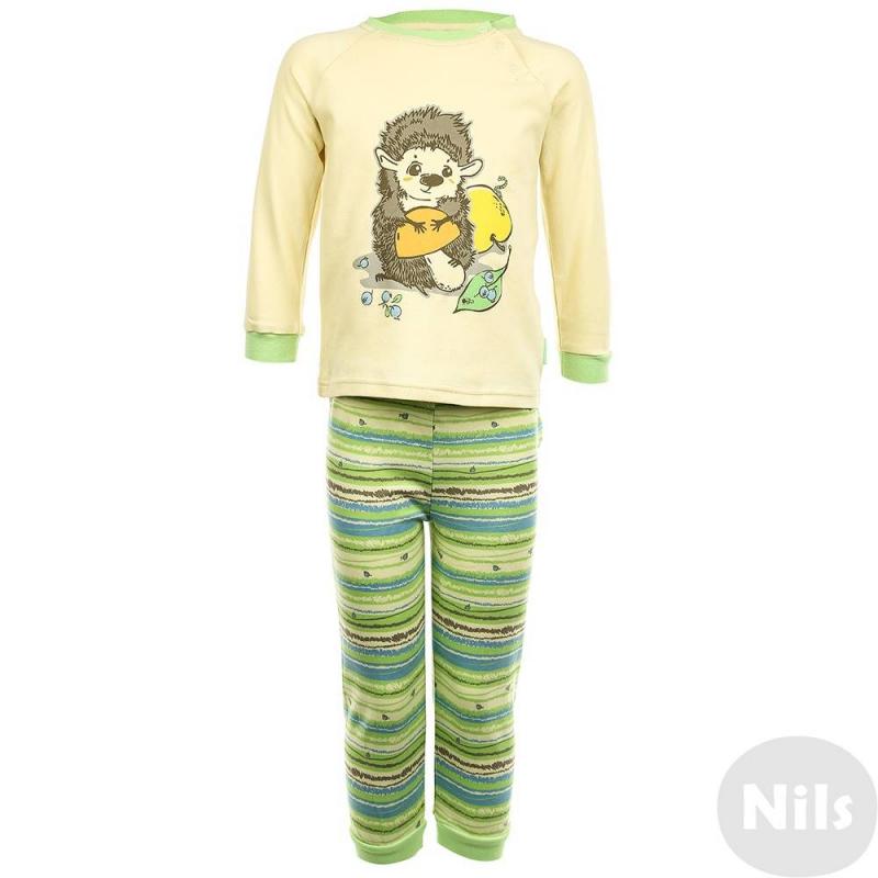 ПижамаПижамажелто-зеленогоцвета марки KOGANKIDS длямальчиков. Пижама выполнена из стопроцентного хлопка, состоит из футболки с длинным рукавом и брюк. Футболка украшена принтом с изображением ежика с грибочком; застегивается футболка на кнопки на плече. Брюки имеют удобную широкую резинку на поясе, украшены рисунком в полоску.<br><br>Размер: 18 месяцев<br>Цвет: Зеленый<br>Рост: 86<br>Пол: Для мальчика<br>Артикул: 637665<br>Страна производитель: Узбекистан<br>Сезон: Всесезонный<br>Состав: 100% Хлопок<br>Бренд: Россия<br>Вид застежки: Кнопки