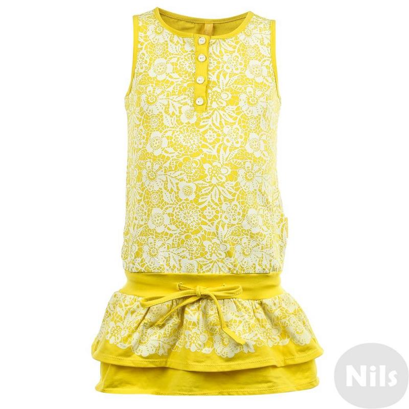 СарафанСарафанжелтого цвета марки KOGANKIDS для девочек. Сарафан на широких бретелькахвыполнен из мягкого хлопкового трикотажа, украшен узором белого цвета, имеет пояс на резинке; двухслойная юбочка украшена плиссировкой. Застегивается платье на пуговицы спереди и завязывается на шнурок на поясе.<br><br>Размер: 7 лет<br>Цвет: Желтый<br>Рост: 122<br>Пол: Для девочки<br>Артикул: 637348<br>Страна производитель: Узбекистан<br>Сезон: Весна/Лето<br>Состав: 100% Хлопок<br>Бренд: Россия