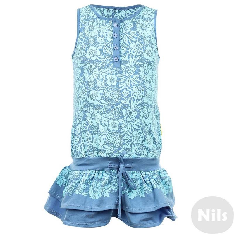 СарафанСарафан сине-голубогоцвета марки KOGANKIDS для девочек. Сарафан на широких бретелькахвыполнен из мягкого хлопкового трикотажа, украшен узором голубогоцвета, имеет пояс на резинке; двухслойная юбочка украшена плиссировкой. Застегивается платье на пуговицы спереди и завязывается на шнурок на поясе.<br><br>Размер: 5 лет<br>Цвет: Синий<br>Рост: 110<br>Пол: Для девочки<br>Артикул: 637337<br>Страна производитель: Узбекистан<br>Сезон: Весна/Лето<br>Состав: 100% Хлопок<br>Бренд: Россия