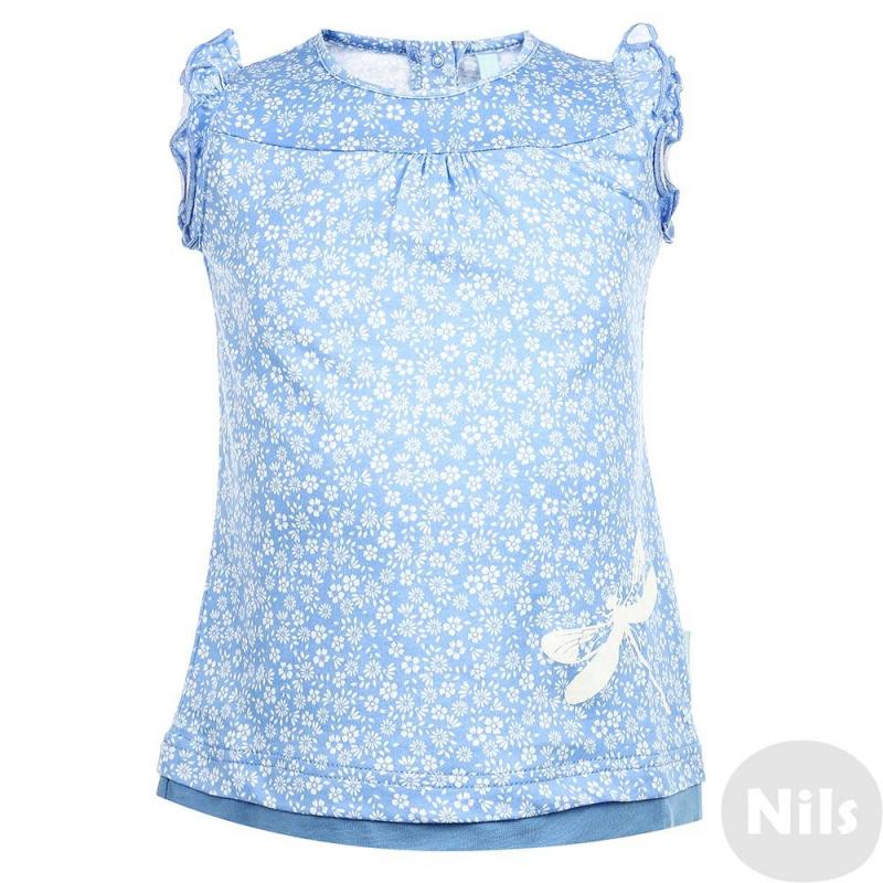 ФутболкаФутболка голубого цвета марки KOGANKIDS для девочек. Футболка выполнена из мягкого хлопкового трикотажа, рукава декорированы рюшами. Спереди футболка украшена принтом с изображением стрекозы. Застегивается платье на две кнопки на спине.<br><br>Размер: 12 месяцев<br>Цвет: Голубой<br>Рост: 80<br>Пол: Для девочки<br>Артикул: 637218<br>Страна производитель: Узбекистан<br>Сезон: Весна/Лето<br>Состав: 100% Хлопок<br>Бренд: Россия