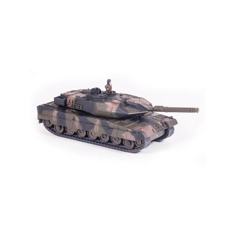 Танк - SikuИгрушка марки Siku Танк.<br>Игрушечный военный танк Leopard II А6 с реалистичным дизайном. Выпускается под немецкой торговой маркой SIKU.Танк в точности до заклепок на броне копирует военный танк Leopard II А6 в масштабе – 1:87. Это функциональная игрушка. Его башня подвижная, пушка вращается на 360 градусов. Посмотрите на него: все части игрушки имеют высокую степень детализации. Согласитесь, ребенку будет интересно с ней играть. Яркие цвета танка привлекут внимание ребенка. Она одновременно развлекает и помогает познавать окружающий мир. Кроме того, за игрой у ребенка развиваются: мелкая моторика, внимательность, координация, воображение.Размер:11 см х 3,5 см х 4 см.<br><br>Возраст от: 3 года<br>Пол: Для мальчика<br>Артикул: 634705<br>Бренд: Германия<br>Размер: от 3 лет