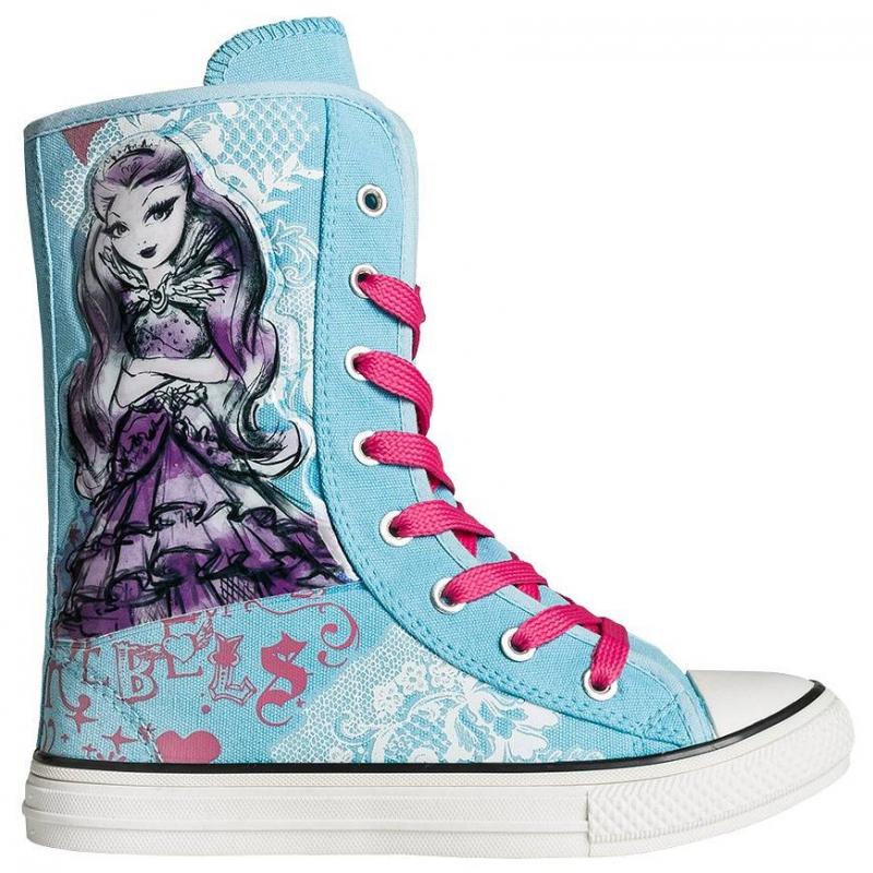 КедыВысокие кедыголубогоцветаEver After Highмарки Kakadu длядевочек.<br>Модные комфортные кеды для девочек школьного возраста. Обувь украшена изображением в стиле Ever After High. Фиксируются на ноге с помощью шнуровки. Сделаны кеды из качественного текстиля, который позволяет ноге дышать.Основной цвет кед - голубой, он дополнен фиолетовым принтом и розовыми шнурками.<br><br>Размер: 36<br>Цвет: Голубой<br>Пол: Для девочки<br>Артикул: 638749<br>Страна производитель: Китай<br>Сезон: Весна/Лето<br>Материал верха: Текстиль<br>Материал подкладки: Хлопчатобумажная<br>Материал подошвы: ПВХ (поливинилхлорид)<br>Лицензия: Ever After High