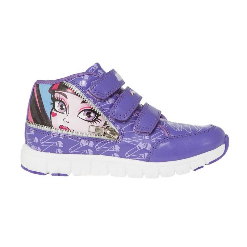 КроссовкиКроссовки сиреневого цвета с рисунком Monster High марки Kakadu для девочек. Кроссовки выполнены из качественной искусственной кожи, имеют белую прочную и гибкую подошву, застегиваются на липучку и шнуровку.<br>Яркая расцветка, стильный принт и вставки на модели – всё это очень нравится юным модницам.<br><br>Размер: 35<br>Цвет: Сиреневый<br>Пол: Для девочки<br>Артикул: 638926<br>Страна производитель: Китай<br>Сезон: Весна/Лето<br>Материал верха: Искусственная кожа<br>Материал подкладки: Текстиль<br>Материал подошвы: ЭВА (каучук)<br>Лицензия: Monster High