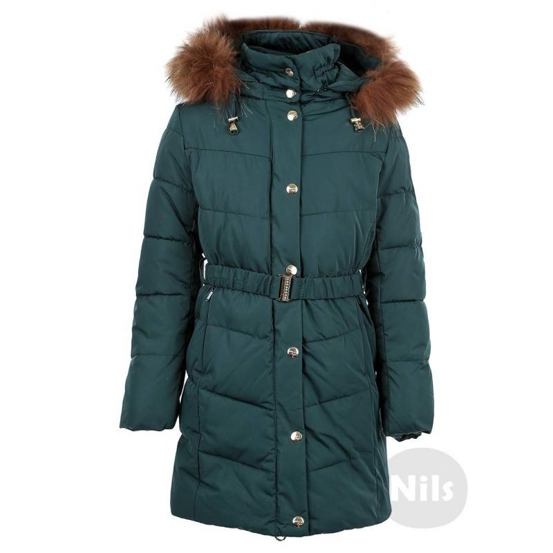 ПальтоТеплое темно-зеленое пальтомарки PULKA для девочек. Очень теплое приталенноепальтосо съемным капюшономсшито из полностью непродуваемого материала, поэтому хорошо защищает от ветра. Пальтозастегивается на молнию с клапаном на кнопках, есть два кармана спереди и один потайной внутренний карман, а также съемный эластичный пояс на застежке. Низ регулируется специальным шнурком. На рукавах удобные внутренние манжеты. Съемная отделка капюшона выполнена из натурального меха (енот). Температурный режим: до -35° -40°<br><br>Размер: 6 лет<br>Цвет: Зеленый<br>Рост: 116<br>Пол: Для девочки<br>Артикул: 603977<br>Бренд: Италия<br>Страна производитель: Китай<br>Сезон: Осень/Зима<br>Состав: 100% Полиэстер<br>Состав подкладки: 100% Полиэстер<br>Наполнитель: 100% Полиэстер<br>Температура: до -35° -40°