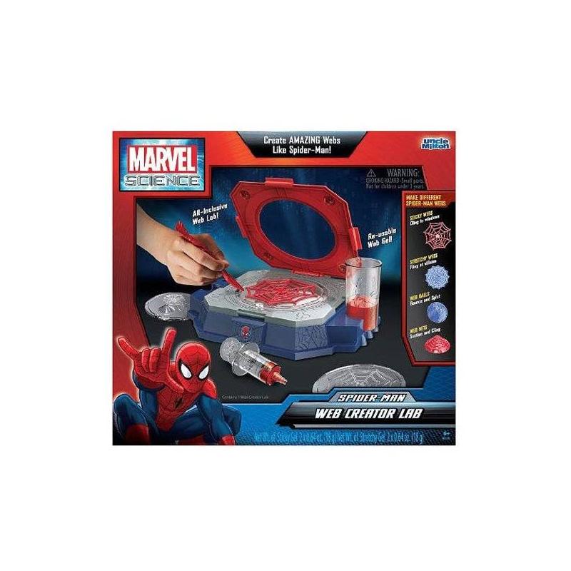 Игрушка Лаборатория Человека-паука по созданию паутиныИгрушка Лаборатория Человека-паука по созданию паутины серии Marvel Science маркиUncle Milton.<br>Набор понравится мальчикам, которые обожают комиксы и фильмы о Человеке-пауке. С помощью специального геля он будет создавать свою собственную паутину, которая получится не хуже, чем у Человека-паука. Для этого в набор входят все необходимые формочки и расходные материалы. Гель, используемый для создания паутины, можно использовать повторно (в набор входит 2 пакетика красного геля для создания клейких паутин и 2 пакетика голубого для создания тянущихся паутин). Получившиеся паутины не оставляют следов.<br>Питание: 3 батарейки АА (в комплект не входят).<br><br>Возраст от: 6 лет<br>Пол: Для мальчика<br>Артикул: 634562<br>Бренд: США<br>Лицензия: Spider-Man<br>Размер: от 6 лет