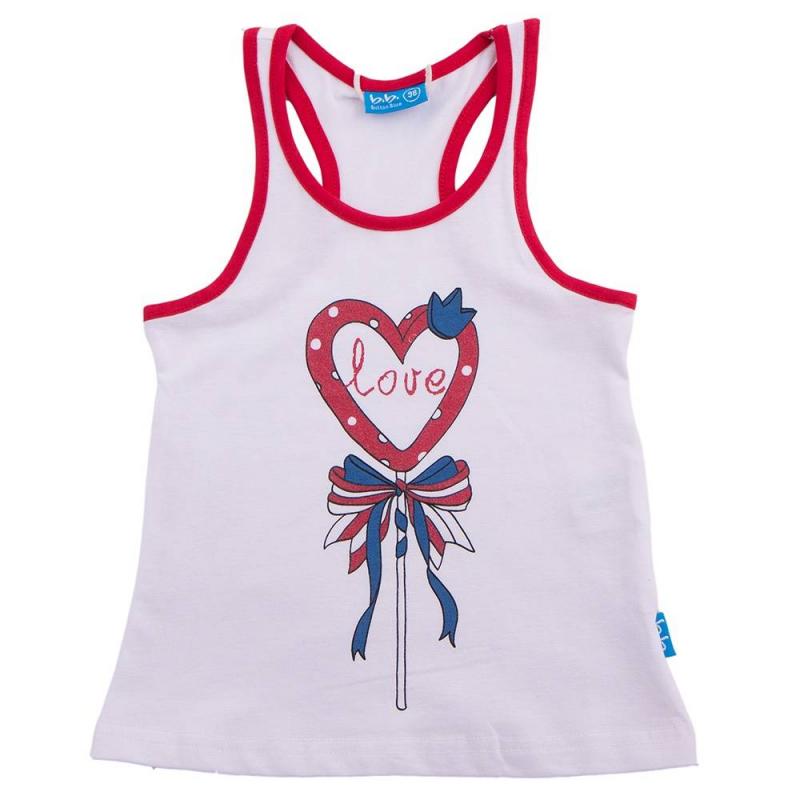 МайкаМайка белогоцветамаркиButton Blue для девочек. Майка украшена оригинальным принтом с сердцем.<br><br>Размер: 6 лет<br>Цвет: Белый<br>Рост: 116<br>Пол: Для девочки<br>Артикул: 636090<br>Страна производитель: Китай<br>Сезон: Весна/Лето<br>Состав: 95% Хлопок, 5% Эластан<br>Бренд: Россия