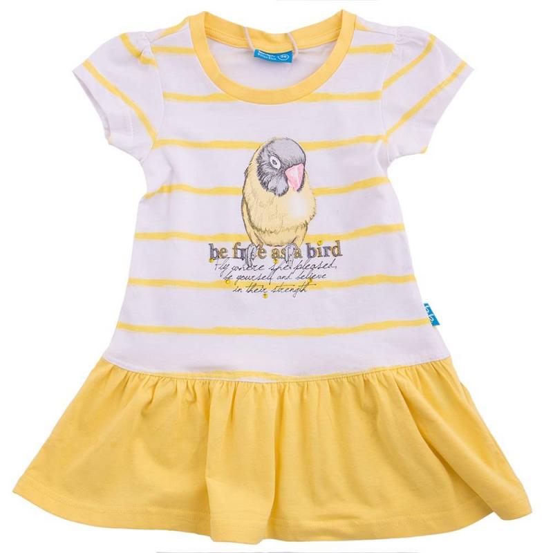 ПлатьеПлатье желто-белогоцвета маркиButton Blue. Украшено принтом с птицей и стразами. Платье с короткими рукавами,имеет расклешенную юбочку.<br><br>Размер: 5 лет<br>Цвет: Желтый<br>Рост: 110<br>Пол: Для девочки<br>Артикул: 636474<br>Страна производитель: Китай<br>Сезон: Весна/Лето<br>Состав: 95% Хлопок, 5% Эластан<br>Бренд: Россия