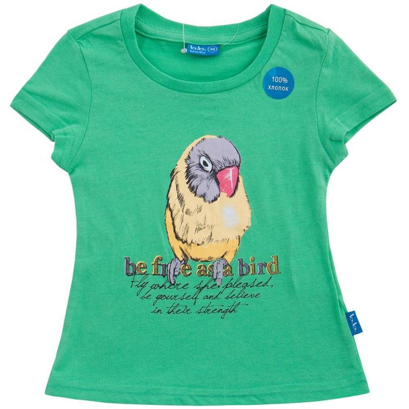 ФутболкаФутболказеленогоцветамаркиButton Blue для девочек. Украшена принтом с птицей и надписью. Выполнена из хлопка.<br><br>Размер: 10 лет<br>Цвет: Зеленый<br>Рост: 140<br>Пол: Для девочки<br>Артикул: 636183<br>Страна производитель: Китай<br>Сезон: Весна/Лето<br>Состав: 100% Хлопок<br>Бренд: Россия