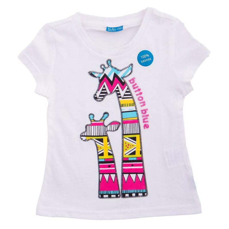 ФутболкаФутболкабелогоцветамаркиButton Blue для девочек. Украшена оригинальным принтом с двумя жирафами. Выполнена из хлопка.<br><br>Размер: 5 лет<br>Цвет: Белый<br>Рост: 110<br>Пол: Для девочки<br>Артикул: 636134<br>Страна производитель: Китай<br>Сезон: Весна/Лето<br>Состав: 100% Хлопок<br>Бренд: Россия