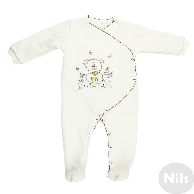 КомбинезонКомбинезон-кимоно молочного цвета марки Милуша для малышей. Комбинезон выполнен из материала капитон (100% хлопок) с рисунком в ромбик, имеет длинный рукав и закрытые ножки, имеет плотную хлопковую подкладку. Застегивается комбинезон на кнопки сбоку и по шаговому шву. Украшен комбинезон вышивкойс изображениеммедвежонка с баночкой меда.<br><br>Размер: 6 месяцев<br>Цвет: Бежевый<br>Рост: 68<br>Пол: Не указан<br>Артикул: 638495<br>Страна производитель: Россия<br>Сезон: Всесезонный<br>Состав: 100% Хлопок<br>Бренд: Россия<br>Вид застежки: Кнопки