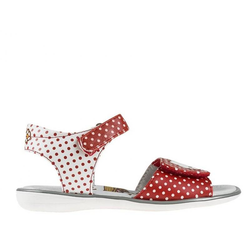 БосоножкиБосоножки красно-белого цвета марки Kakadu для девочек. Босоножки украшены рисунком в горошек и изображением Hello Kitty.Верх босоножек выполнен из качественной искусственной кожи сподкладкойиз натуральной кожи. Застегивается обувь с помощью удобных липучек.<br><br>Размер: 25<br>Цвет: Красный<br>Пол: Для девочки<br>Артикул: 644552<br>Страна производитель: Китай<br>Сезон: Весна/Лето<br>Материал верха: Искусственная кожа<br>Материал подкладки: Натуральная кожа<br>Материал стельки: Натуральная кожа<br>Материал подошвы: ТПР (термопластичная резина)<br>Лицензия: Hello Kitty