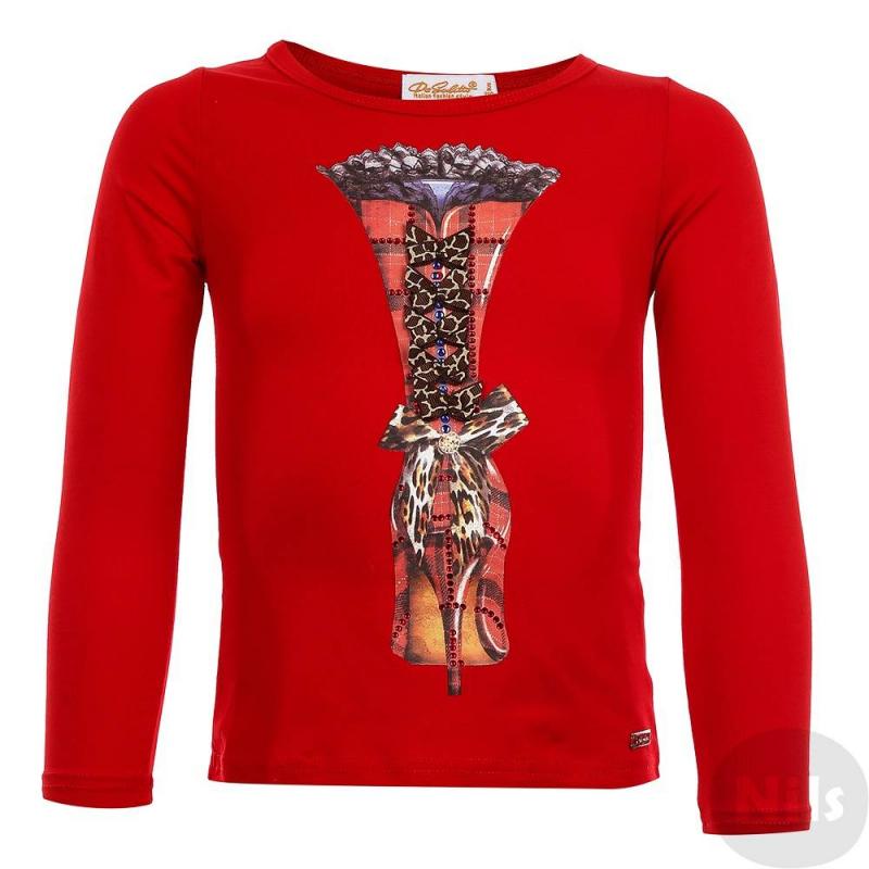 Футболка с длинным рукавомФутболка с длинным рукавом красногоцвета марки De Salitto для девочек.<br>Футболка выполнена из хлопка с добавлением спандекса и декорирована стильным принтом, бантиками, а также стразами.<br><br>Размер: 4 года<br>Цвет: Красный<br>Рост: 104<br>Пол: Для девочки<br>Артикул: 639360<br>Страна производитель: Китай<br>Сезон: Весна/Лето<br>Состав: 95% Хлопок, 5% Спандекс<br>Бренд: Италия