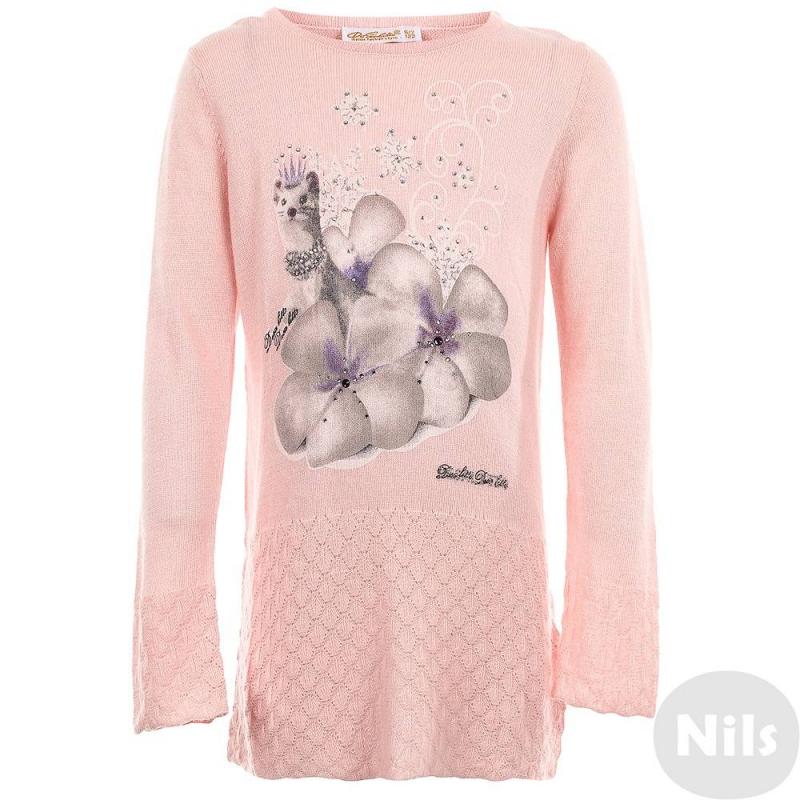 ДжемперДжемпер розового цвета марки De Salitto для девочек.<br>Джемпер из чистого хлопка очень приятен на ощупь благодаря специальной обработке. Модель с нежным принтом декорирована стразами и ажурной вязкой.<br><br>Размер: 8+ лет<br>Цвет: Розовый<br>Рост: 130<br>Пол: Для девочки<br>Артикул: 639401<br>Страна производитель: Китай<br>Сезон: Весна/Лето<br>Состав: 100% Мерсеризованный Хлопок<br>Бренд: Италия