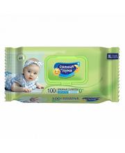 Влажные салфетки для детей с экстрактом липы 100 шт с крышкой