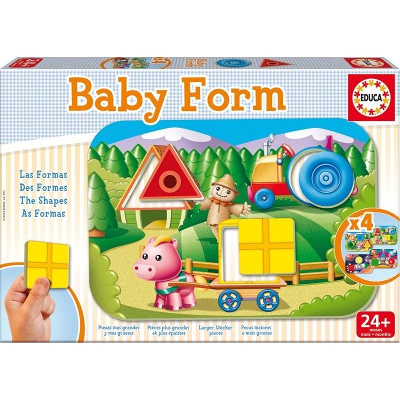 Игра-пазл Формы 12 деталейИгра-пазл Формы марки Educa - это уникальный набор для развития малышей. Ваш малыш познакомится сразличными формами, научится объединять предметы или животных по форме, выстраивать логические цепочки, расширит словарный запас. Благодаря ярким запоминающимся картинкам вы увидите результат уже с первого занятия.Коллекция Baby Educa стимулирует внимательность, развивает психомотрику, любопытство и воображение.В комплекте4 рамки и 12 элементов-вкладышей.<br><br>Возраст от: 2 года<br>Пол: Не указан<br>Артикул: 639575<br>Бренд: Испания<br>Размер: от 2 лет<br>Количество деталей: до 50<br>Тематика: Обучающие