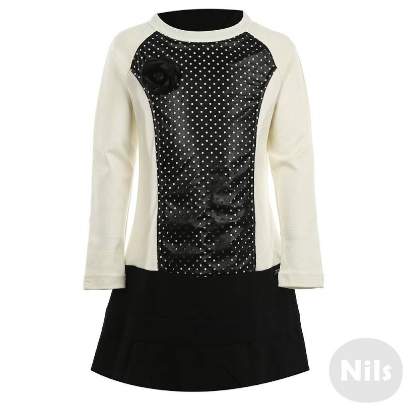 ПлатьеПлатье черногоцвета марки De Salitto для девочек.<br>Плотное трикотажноеплатье декорировано контрастными вставками молочного цвета, а также съемной брошью в виде розочки. Модель застегивается на потайную молнию.<br><br>Размер: 11+ лет<br>Цвет: Черный<br>Рост: 150<br>Пол: Для девочки<br>Артикул: 639161<br>Страна производитель: Китай<br>Сезон: Весна/Лето<br>Состав: 65% Хлопок, 35% Полиэстер<br>Бренд: Италия<br>Вид застежки: Молния