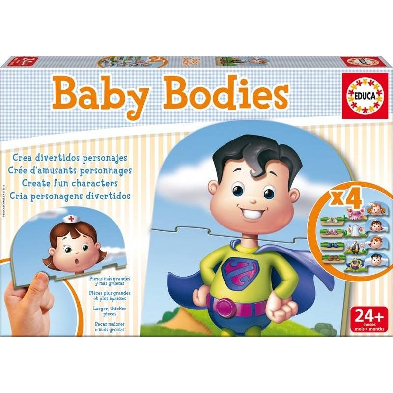 Игра-пазл ТелоИгра-пазл Тело марки Educa - это уникальный набор для развития малышей. Создавай каждый раз нового героя путем совмещения деталей головы, торса и ног. Обучающая и забавная игра!Коллекция Baby Educa стимулирует внимательность, развивает психомотрику, любопытство и воображение.В наборе: 4 комплекта по 3 детали.<br><br>Возраст от: 2 года<br>Пол: Не указан<br>Артикул: 639580<br>Бренд: Испания<br>Размер: от 2 лет