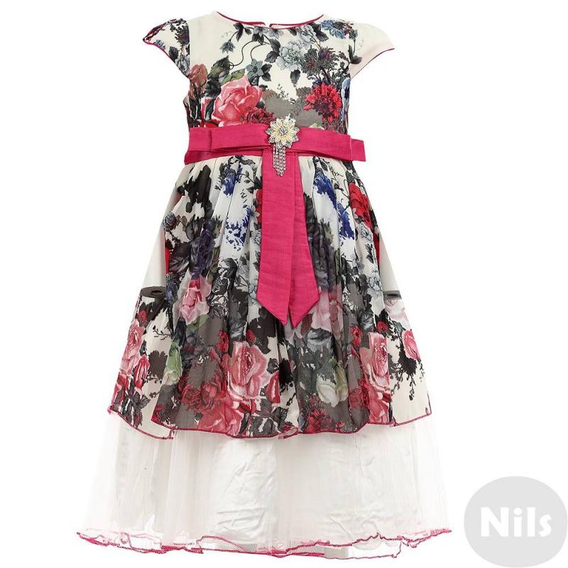 ПлатьеПлатье молочногоцвета марки De Salitto.<br>Нарядноеплатье с пышной юбкой декорированоцветочным принтом.Модельдополнена поясом завязывающимся на объемный бант, а также подъюбником.Пояс ярко-розового цвета украшенэлегантным бантом и съемной брошью в виде цветка.<br><br>Размер: 6 лет<br>Цвет: Бежевый<br>Рост: 116<br>Пол: Для девочки<br>Артикул: 639487<br>Страна производитель: Китай<br>Сезон: Весна/Лето<br>Состав: 100% Полиэстер<br>Состав подкладки: 100% Хлопок<br>Бренд: Италия<br>Вид застежки: Молния