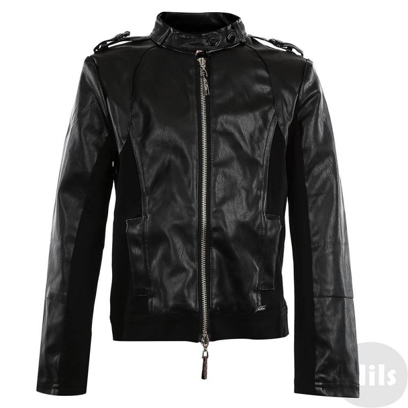 КурткаКуртка черного цвета марки De Salitto для девочек.<br>Стильная куртка с вставками под кожу и карманами декорирована аппликацией в виде надписи из страз на спине.<br><br>Размер: 14 лет<br>Цвет: Черный<br>Рост: 162<br>Пол: Для девочки<br>Артикул: 639182<br>Страна производитель: Китай<br>Сезон: Весна/Лето<br>Состав: 60% Искусственная кожа, 40% Хлопок<br>Бренд: Италия<br>Вид застежки: Молния
