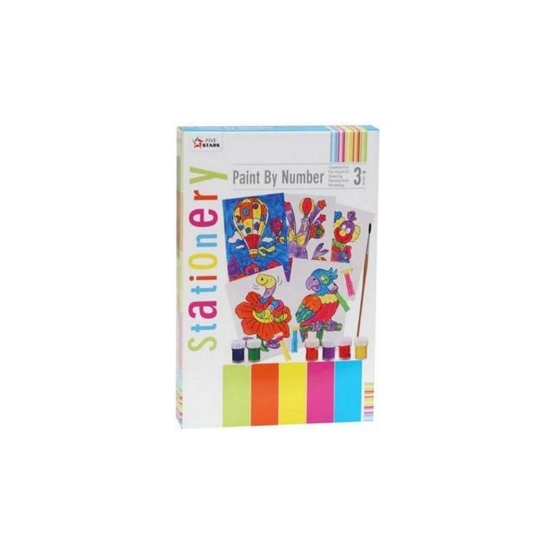 Набор для раскрашивания по цифрамНабор для раскрашивания по цифраммарки Five Stars.<br>Прекрасный набор, предназначенный для развития творческих способностей детей.<br>В наборе:пальчиковые краски - 6 баночек различных цветов,кисточка,раскраски с цифрами - 5 шт,поролоновые штампики (можно одевать на палец) - 4 шт.<br>Размер баночки с краской: 3 х 4.5 см.Размер упаковки:23 х 32 х 4 см.<br><br>Возраст от: 3 года<br>Пол: Не указан<br>Артикул: 633142<br>Страна производитель: Китай<br>Бренд: Китай<br>Размер: от 3 лет