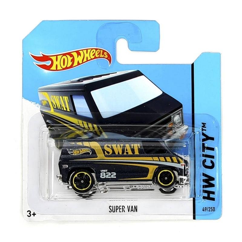 Машинка Hot Wheels Super VanМашинка Hot Wheels Super Vanот бренда Mattelстанет увлекательной игрушкой для Вашего мальчика!<br>Машинка Super Vanиз базовой коллекции- cтильный микроавтобус SWAT с высокой детализацией и крутым дизайномиз серии HW-City.<br>Базовая коллекция машинок насчитывает многие десятки моделей, базирующиеся на реальных прототипах, автомобилях из фильмов, мультсериалов или имеющих свой уникальный дизайн.Машинка изготовлена из литого металла, что делает ее прочной и долговечной.<br>Размер упаковки: 11х3,5х11 см.<br><br>Возраст от: 3 года<br>Пол: Для мальчика<br>Артикул: 639683<br>Бренд: США<br>Лицензия: Hot Wheels<br>Размер: от 3 лет<br>Материал: Металл, пластик