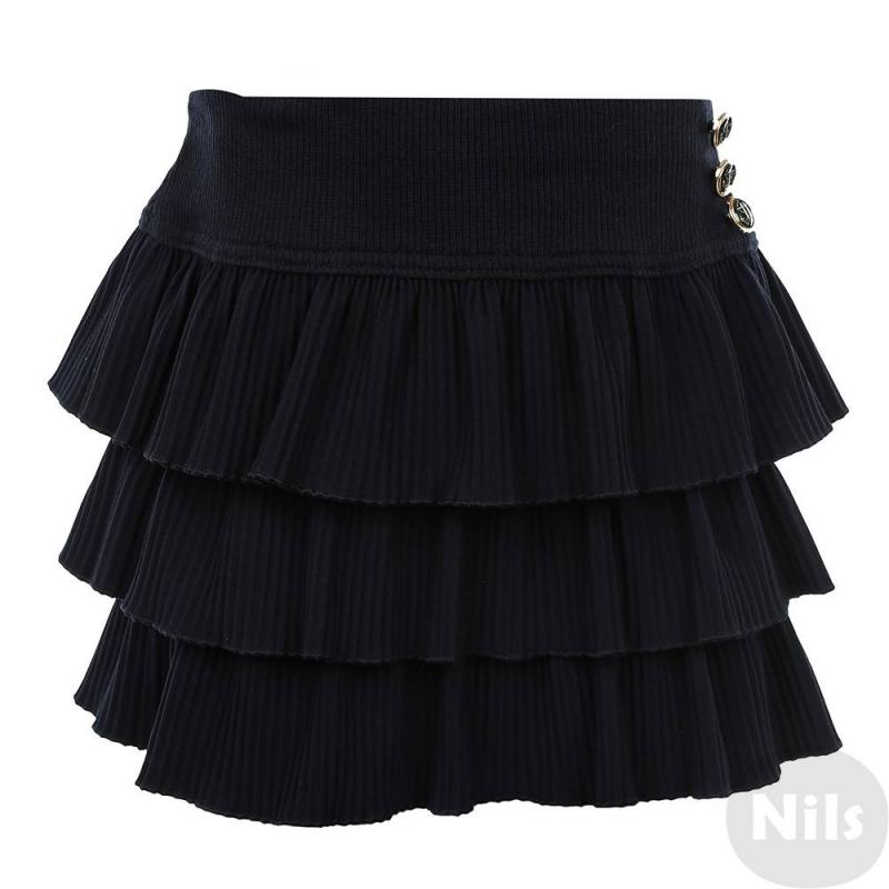 ЮбкаЮбка темно-синего цвета марки Маленькая Леди.<br>Ярусная плиссированная юбка декорирована пуговицами в морском стиле. Модель на подкладке и с удобной широкой резинкой на поясе.<br><br>Размер: 12 лет<br>Цвет: Темносиний<br>Рост: 152<br>Пол: Для девочки<br>Артикул: 639055<br>Страна производитель: Россия<br>Сезон: Всесезонный<br>Состав: 55% Полиамид, 40% Вискоза, 5% Эластан<br>Состав подкладки: 95% Хлопок, 5% Эластан<br>Бренд: Россия