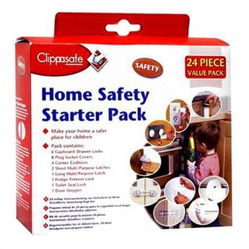 Безопасность, Набор защиты двери от захлопывания, 24 шт. Clippasafe 632788, фото