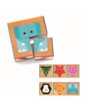 Кубики 4 шт Животные