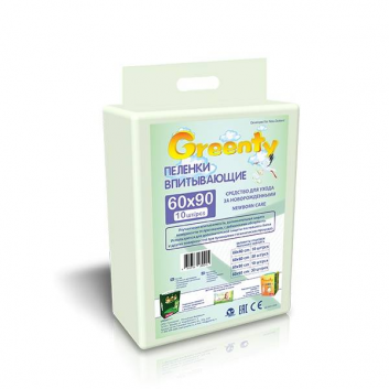 Гигиена, Одноразовые пеленки  60х90 см, 10 шт. Greenty 628344, фото