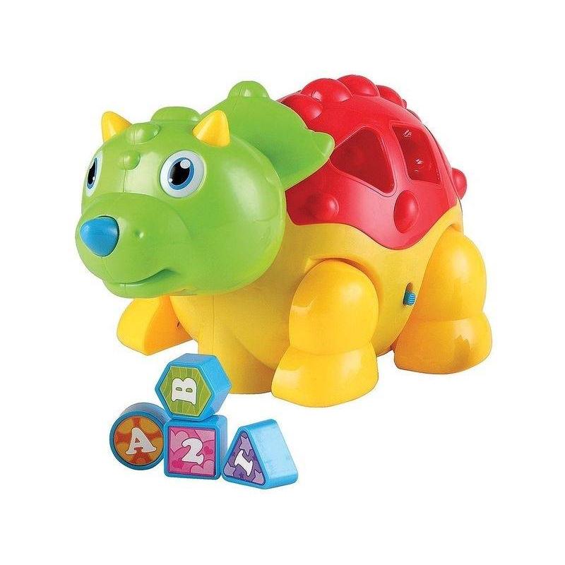 Сортер ДинозаврикИгрушка-сортер Динозаврик марки Happy Baby.<br>Динозаврик DINO от компании Happy Baby – многофункциональная игрушка-сортер, с которой ребенок сможет запомнить некоторые цвета и формы, а также получит первичное понимание о цифрах и буквах (они нанесены на фигурки из набора). Кроме этого игра сопровождается звуковыми эффектами, что развивает слуховое восприятие. Если переключить рычажок на животе динозаврика, то он начнет ходить! Однажды взяв в руки динозаврика, ребенок уже не захочет расстаться с ним долгое время.<br>Для работы игрушки потребуются батарейки АА (в комплект не входят).<br>Размер динозаврика: 15,5 х 28 х 14,5 см.<br><br>Возраст от: 12 месяцев<br>Пол: Не указан<br>Артикул: 630588<br>Бренд: Англия<br>Страна производитель: Китай<br>Размер: от 12 месяцев