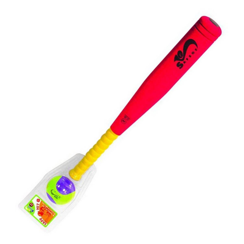 Бита бейсбольная малаяБита бейсбольнаямалая маркиSafSof.<br>Бита для активного отдыха,физически развивает ребенка, улучшает координацию движений и меткость. Кроме того, бейсбольная бита исключает получение травм во время игры, таккак изготовлена из вспененной резины.Игрушка безвредна и экологична, легко чистится и моется.<br>Цвет:красный<br>В набор входит: бейсбольная бита 45см и мяч.<br><br>Цвет: Красный<br>Возраст от: 3 года<br>Пол: Не указан<br>Артикул: 639808<br>Бренд: Таиланд<br>Размер: от 3 лет