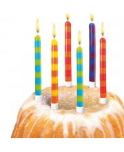 Свечи для торта в полоску 12 штук с подсвечником Susy Card