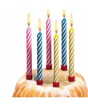 Свечи для торта большие 12 штук с подсвечником Susy Card