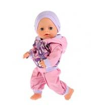 Одежда для кукол 40-42 см розовый прогулочный костюм с шапочкой